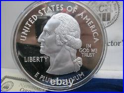 1999-2008 Giant One Pound 999 Pure Silver Proof 50 State Commemorative Box & Coa