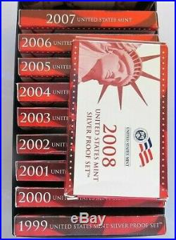 1999-2008 Lot of (10) US Mint SILVER Proof Sets Complete WithBoxes/COA Mint Box