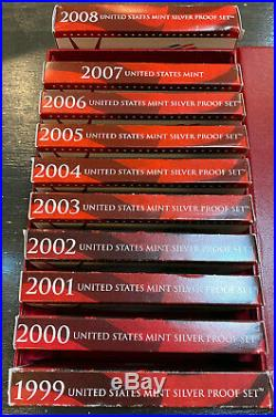 1999 2008 SILVER PROOF SETS COMPLETE WITH C. O. A.'S and STORAGE BOX