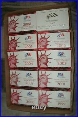 1999-2008 SILVER PROOF sets with all 109 coins. All with boxes and coa's