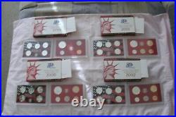 1999-2008 SILVER PROOF sets with all 109 coins, boxes & coa's. See actual pics