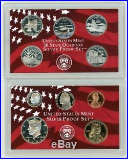 1999 2008 Silver Proof Set Lot United States Mint OGP Box & COA Collection