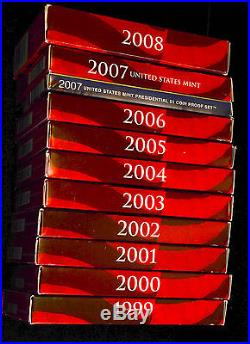 1999 2008 Silver Proof Sets Complete In Boxes With COA Great Collection Gift