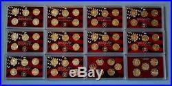 1999 2010 Silver Proof Quarter Sets- 61 Coins-12 sets -No Box/COA