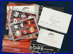 1999-2020 US Mint Silver Proof Set Complete Run In Box with COA's Free Ship USA