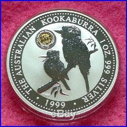 1999 KOOKABURRA SILVER PROOF 1oz SOVEREIGN PRIVY MARK ONE DOLLAR COIN BOX AND C