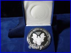 1999 Proof Silver Eagle. 999 fine silver 8 ounces half pound Avoirdupois boxed