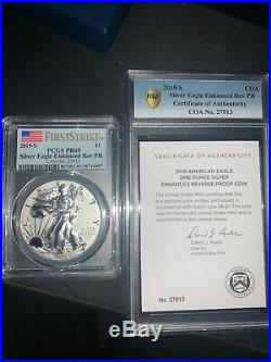 19xe 2019 S Enhanced Reverse Proof Silver Eagle With Box And Numbered Coa Pr69