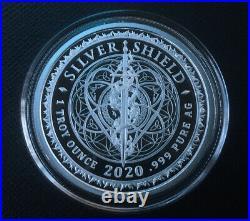 1 oz silver proof Flower Of Life. 999 Pure COA BOX SSG Sacred Geometry Shield