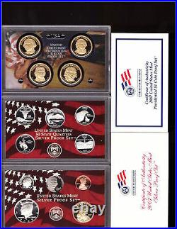 2000 2009 SILVER PROOF SETS DCAM COINS ALL BOXES & COA's FREE SHIPPING