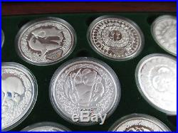 2000 SYDNEY OLYMPIC $5 SILVER PROOF 16 COIN COLLECTION. COMPLETE. Heavy box 2kg