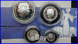 2001 Britannia 2 Pounds Silver Proof 4 Coin Set with Box and CoA