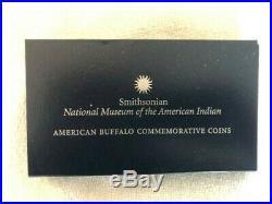 2001 P & D Smithsonian Buffalo Silver Dollar 2 Coin Proof Set with Box & CoA
