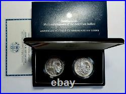 2001 Proof & Unc Commemorative 2 Coin Buffalo Silver Dollar Set With Box & Coa
