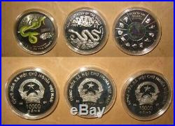 2001 VIETNAM Yr. SNAKE 10000 D Proof Color Silver COINS Set with COA & BOX RARE