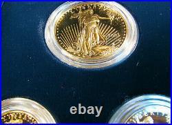 2001 W American Gold Eagle 4 Coin Proof Set w Box COA Platinum Silver Palladium