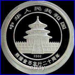 2002 SILVER CHINA 300 YUAN PROOF 1 KILO Kg PANDA ORIGINAL BOX & COA