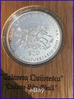 2005 MEXICO DON QUIJOTE (Quixote) 2 oz proof. 999 Silver $20 / WOODEN BOX