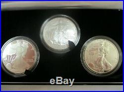 2006 American Eagle 20th Anniversary Silver 3 Coin Set Box COA Reverse Proof