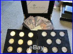 2006 SET 17 x 1oz. 925 SILVER & GOLD PROOF £5 / CROWN COINS stunning set coa/box