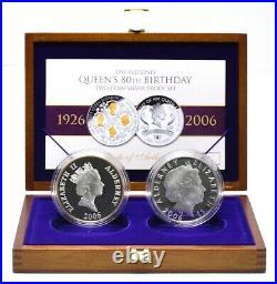 2006 Silver Proof 2x 5oz Coins Set Queens 80th Birthday Commemorative BOX + COA
