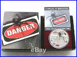 2006 Tuvalu Deadly Dangerous Red-Back Spider $1 Silver Proof 1oz Coin Box Coa