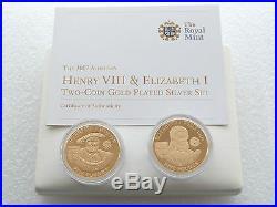 2007 Elizabeth I / Henry VIII £5 Five Pound Silver Gold Proof 2 Coin Set Box Coa