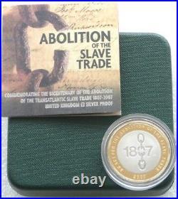 2007 Royal Mint Slave Trade 200th Anniv £2 Two Pound Silver Proof Coin Box Coa