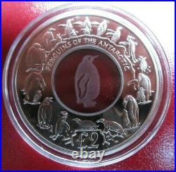 2007 Silver Proof 1 Oz Coin Georgia & Sandwich Islands Crystal Penguin Box/coa