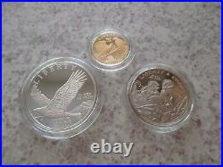 2008 US Mint Bald Eagle Gold & Silver 3 Coin Proof Set with Box/COA