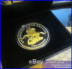 2009 JERSEY St George and the Dragon SILVER & GOLD Proof. 999 Fine 5 OZ £10 BOXED
