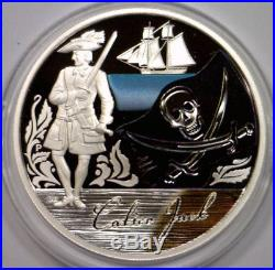 2009 Pirates & Buccaneers TUVALU Silver $1 Colorized Proof 5-Coin Set Box & COA