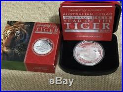 2010 $1 Perth mint 1oz Proof Lunar Series II Silver Tiger 1oz Coin Box & COA