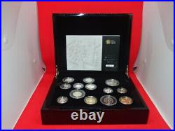 2010 Royal Mint UK 13 Coin Silver Proof Coin Set Box and COA