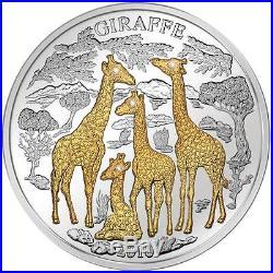 2010 Rwanda GIRAFFE 3 Oz 1000 Francs 4 Diamonds Silver Proof Coin /with Box