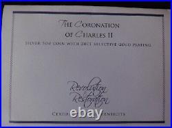 2010 Silver Proof 5oz Guernsey £10 Coin Box + Coa Charles 11 Coronation 1/450