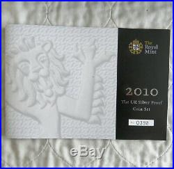 2010 UK 13 COIN SILVER PROOF COIN SET boxed/coa/outer