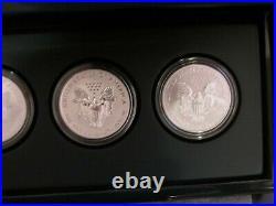2011 P Reverse Proof Silver Eagle 5 Coin 25th Anniversary Set Box/coa S W #01
