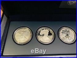2011 P Reverse Proof Silver Eagle 5 Coin 25th Anniversary Set W Box/coa