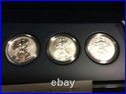 2011 P Reverse Proof Silver Eagle 5 Coin 25th Anniversary Set W Box/coa S W
