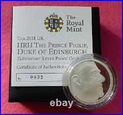 2011 Piedfort Prince Philip Duke Of Edinburgh £5 Silver Proof Coin Coa And Box
