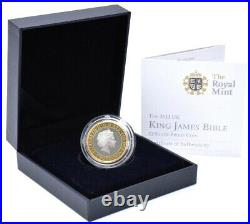 2011 Silver Proof King James Bible £2 Coin BOX + COA By Royal Mint