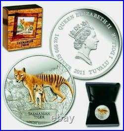 2011 Tuvalu TASMANIAN TIGER Colorized 1oz Pure. 999 Proof Silver Coin Box & COA