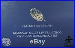 2012 American Eagle San Francisco 2-Coin. 999 Silver Proof Set with Boxes & COA