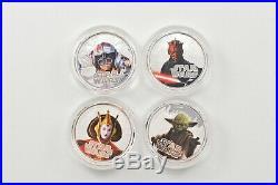 2012 Niue $2 Star Wars 1 Oz Silver Colored Proof 4 Coin Set Box & COA 9427