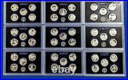 2012 S 2020 S 90% SILVER Proof Quarter Set 45 Coins-No Box/COA-Nine Sets