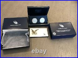 2012 S American Silver Eagle Two Coin Silver Proof & Reverse Set with Box & COA
