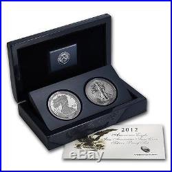 2012 S REVERSE PROOF SILVER EAGLE 2 COIN 75TH ANNIVERSARY SETseal box (10)set