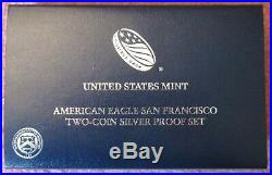 2012-S Silver American Eagle $1 Two Coin Set withReverse Proof in Box+CoA