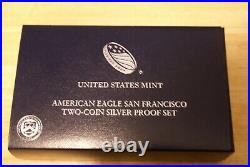 2012 S Silver Eagle Set- Proof & Reversed Proof 2 Coin Set/ Box/coa